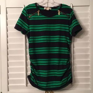 Michael Kors Navy and Green Striped Top
